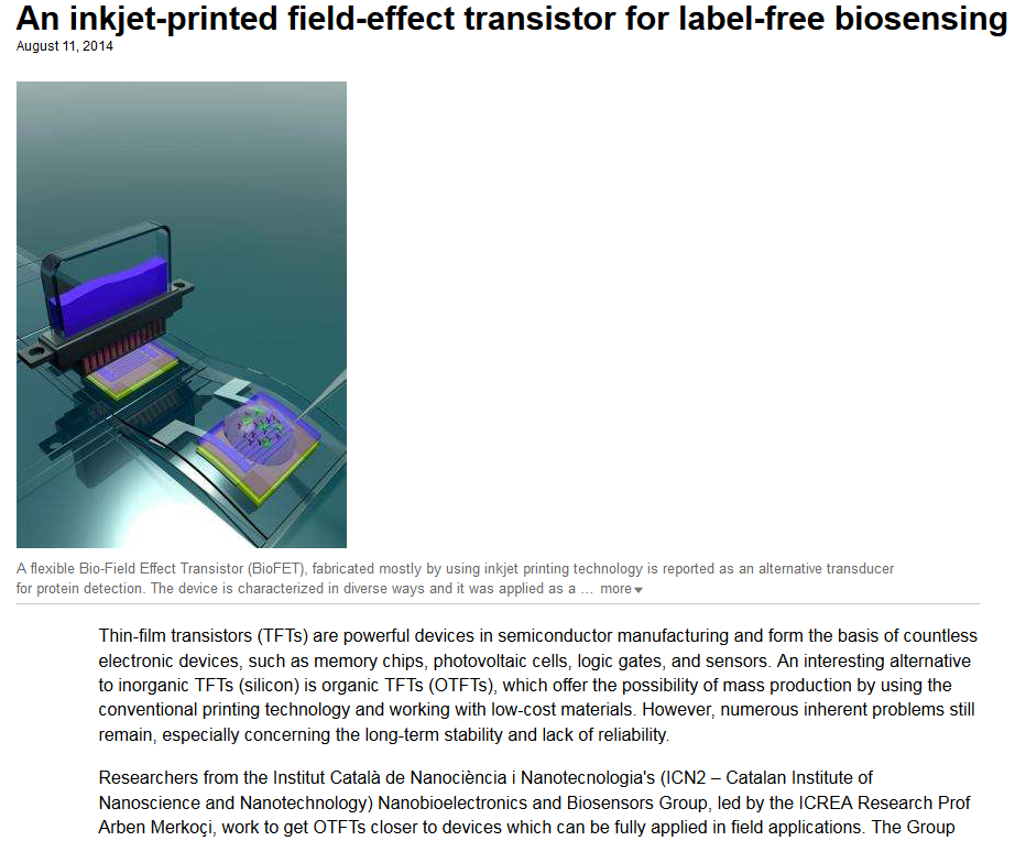 an inkjet-printed field effect transistor for label-free biosensing