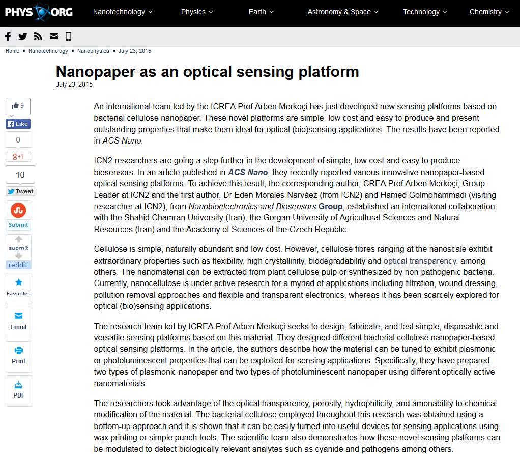 nanopaper as optical sensing platform